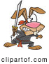 Vector of a Cartoon Ninja Rabbit Ready to Fight with Sword by Toonaday