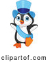 Vector of a Cartoon Penguin Dancing in a Blue Top Hat and Sash by Pushkin