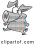 Vector of a Cartoon Plaid Pig Walking on Hinds Feet by Toonaday