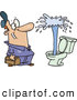 Vector of a Cartoon Plumber Looking at a Geyser of Water Shooting from a Toilet by Toonaday