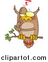 Vector of a Cartoon Pondering Owl on a Branch by Ron Leishman