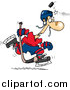 Vector of a Cartoon Puck Hitting a Hockey Player on the Head by Toonaday