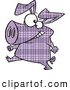 Vector of a Cartoon Purple Plaid Pig Walking on Hinds Feet by Ron Leishman