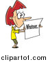 Vector of a Cartoon Red Haired White Businesswoman Holding a Whatever Sign by Toonaday