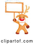 Vector of a Cartoon Rudolph the Red Nosed Reindeer Holding a Blank Sign Board with Snow on Top by Pushkin
