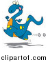 Vector of a Cartoon Running Blue Dinosaur by Toonaday