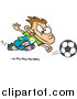 Vector of a Cartoon Running Caucasian Soccer Boy by Ron Leishman