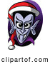 Vector of a Cartoon Vampire Wearing Santa Hat by Zooco