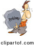 Vector of a Cartoon White Man Carrying a Heavy Problem Rock by Toonaday