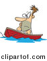 Vector of a Cartoon White Man Drifting in a Boat by Toonaday