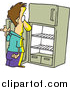 Vector of a Cartoon White Man Staring in an Empty Fridge by Toonaday