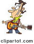 Vector of a Cartoon Winking Male Guitarist by Ron Leishman