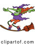 Vector of a Cartoon Witch Standing on Her Broom Stick While Flying by Zooco