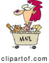 Vector of a Cartoon Woman Shipping out with Lots of Mail in a Cart by Toonaday