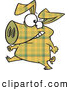 Vector of a Cartoon Yellow Plaid Pig Walking on Hinds Feet by Toonaday