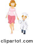 Vector of a Caucasian Graduate Boy Holding Hands with His Mom by BNP Design Studio