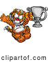 Vector of a Cheerful Cartoon Tiger Champion Mascot with a Trophy by Chromaco