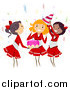 Vector of a Cheerleader Themed Teenager Birthday Party by BNP Design Studio