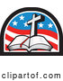 Vector of a Christian Cross and Open Bible in an American Flag Arch by Patrimonio
