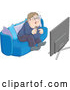 Vector of a Chubby Man Getting Excited While Watching Tv by Alex Bannykh