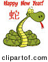 Vector of a Coiled Cartoon New Year 2013 Snake by Hit Toon
