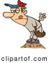 Vector of a Competitive Cartoon Baseball Pitcher on the Mound Getting Reading to Throw the Ball by Ron Leishman