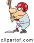Vector of a Competitive Cartoon Baseball Player Batting at Home Base by Ron Leishman