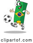Vector of a Competitive Cartoon Brazil Flag Mascot Playing Soccer by Holger Bogen