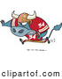 Vector of a Competitive Cartoon Football Bull Charging Forward with the Ball by Ron Leishman