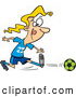 Vector of a Competitive Cartoon Girl Kicking a Soccer Ball by Ron Leishman