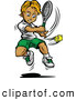 Vector of a Competitive Cartoon Tennis Player Swinging at a Ball by Chromaco