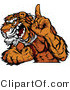 Vector of a Competitive Tiger Mascot Growling While Pointing Finger up - Number 1 Champion by Chromaco