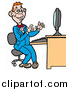 Vector of a Computer Geek Man in a Blue Suit, Working on a Computer by LaffToon