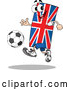 Vector of a Confident Cartoon Union Jack Flag Mascot Playing Soccer by Holger Bogen