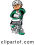 Vector of a Confident Cartoon White Hockey Player Man Posing with Stick by Clip Art Mascots