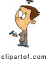 Vector of a Confused Cartoon Boy Holding a Facial Hair Razor for Shaving by Toonaday