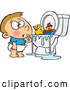 Vector of a Confused Cartoon Boy Looking at His Toys Floating on Overflowing Water in a Clogged Toilet by Ron Leishman