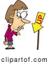 Vector of a Confused Cartoon Woman Looking at an up Sign That Is Pointing down by Toonaday