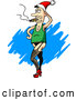 Vector of a Crossdressing Cartoon Man Smoking Cigar While Wearing Santa Hat by