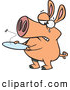Vector of a Crying Cartoon Pig with an Empty Plate by Ron Leishman