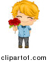 Vector of a Cute Caucasian Valentine Boy Giving a Red Flower by BNP Design Studio