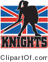 Vector of a Dark British Knight Armed with Sword and Protective Shield by Patrimonio