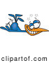 Vector of a Dazed Cartoon Blue Bird on the Ground by Toonaday