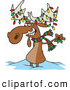 Vector of a Decorated Cartoon Christmas Moose by Toonaday
