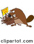 Vector of a Defensive Beaver Guarding His Stick Pile by Toonaday