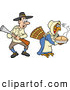 Vector of a Disguised Cartoon Thanksgiving Turkey Delivering Hot Pie While a Shocked Pilgrim Hunter Shocking Stares at Her by LaffToon
