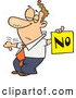 Vector of a Displeased Cartoon Man with a Thumb down Holding a NO Sign by Toonaday