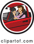 Vector of a Distracted Girl Applying Makeup While Driving Car by David Rey