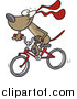 Vector of a Dog Character Riding a Red Bike - Cartoon Style by Toonaday