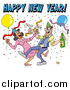 Vector of a Drunk Couple Wearing Party Hats and Dancing with Champagne Under Balloons and Confetti at a New Year Party by LaffToon
